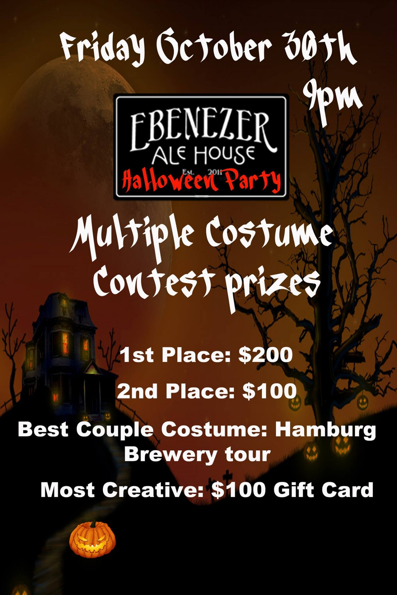 halloween party - ebenezer ale house | costume contest, cash prizes